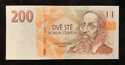 CZECH REPLUBLIC 200 KORUN 2018 Revised Wide Security P NEW UNC