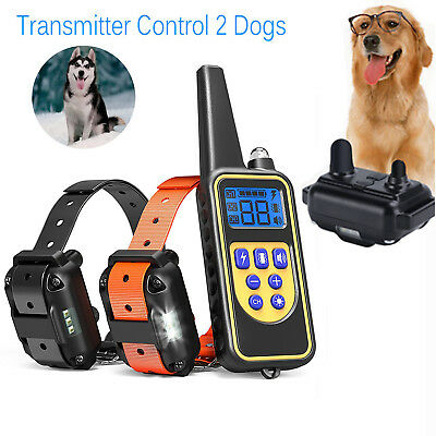 875 Yards 2 Dogs Dog Shock Training Collar Electronic Remote Control Waterproof