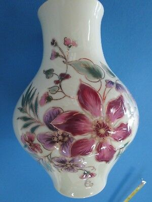 "Zsolnay Hungary 7"" Hand Painted Porcelain Floral Vase Trimmed with 24K Gold"