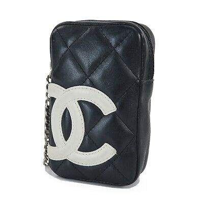 2895b8f242d6 Auth CHANEL Cambon Line CC Black and White Quilted Leather Cigarette Case  31644D