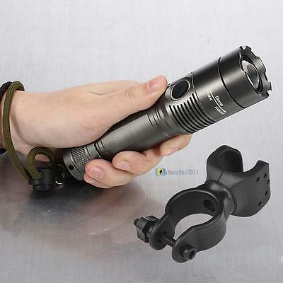 10000LM CR❈T XM-L T6 LED Rechargeable Flashlight Torch Light+Bike Mount Clip AE