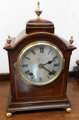 mahoganay inlaid striking bracket clock-pull repeat action