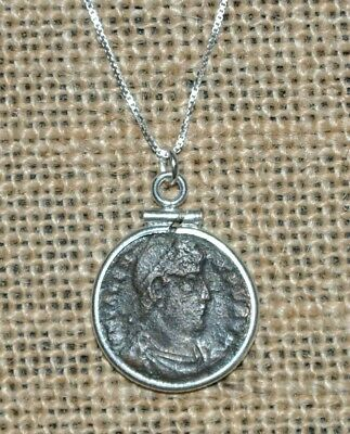 Authentic Ancient Roman Empire Bronze Coin of Emperor Valens 925 Silver Necklace