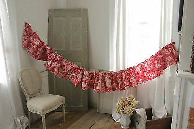 Antique French 19th Ruffle valance red roller/ block printed textile c1870