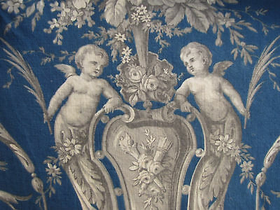 Valance Antique French Prussian blue large pelmet c1870 beautiful fabric