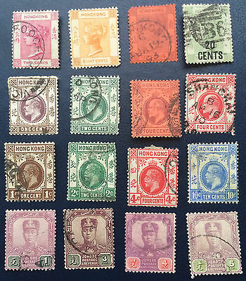 From Collection Rare Stamps Of Hong Kong Lot Of 16 Hongkong Antique Old Stamps !