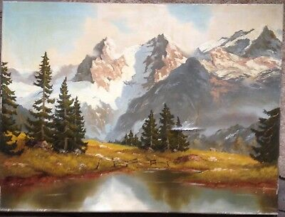 Georg Kuboth 1916 in the Berner Oberland Oil Painting Antique Signed Damaged
