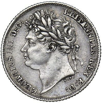 1825 Sixpence - George Iv British Silver Coin - Nice