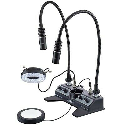 AmScope LED Illuminator Set with Stage-plate, Ring Light, two Gooseneck Lamps +