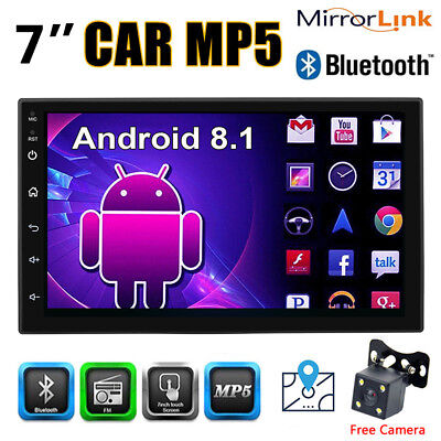 2DIN Android 8.1 Quad Core Car Stereo GPS BT 7'' Touch MP5 Player FM Radio W/CAM