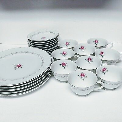 Fine China of Japan Porcelain Dish Set in Royal Swirl Pattern 24PC Service for 5