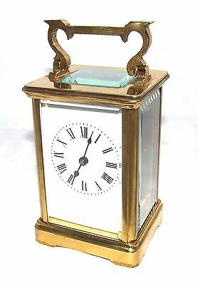 Brass & Bevelled Glass Carriage Mantel Clock Timepiece & Key : Working (60)