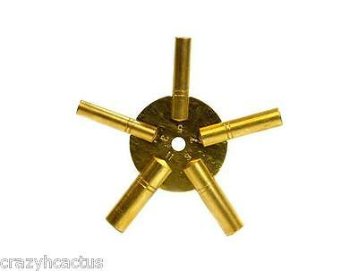 Clock Winder Winding Key BRASS ODD Numbers Universal NEW Mantle clock 5 Prong