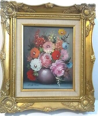 Signed Oil Painting Still Life Floral Flowers in Vase Framed Realism - Milk Ross