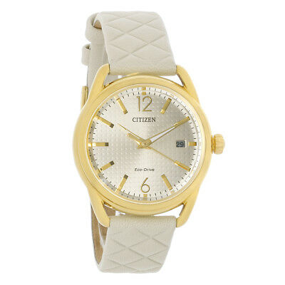 Citizen Eco DRIVE LTR Champagne Dial Gold Plated Steel Watch FE6082-08P