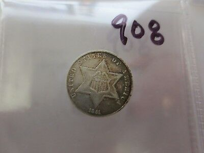 1861 Three Cent Silver AU (CIVIL WAR DATE) (908)
