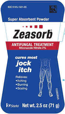 Zeasorb ANTIFUNGAL TREATMENT Miconazole Nitrate 2% Jock Itch Powder 2.5 Oz