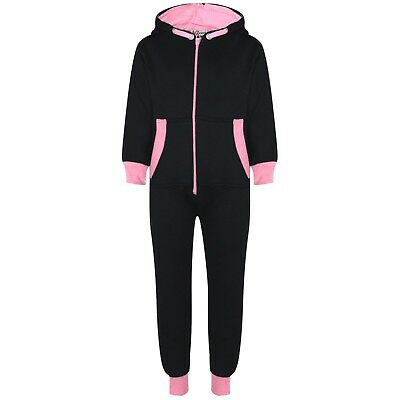 Kids Girls Baby Pink Fleece Contrast A2Z Onesie One Piece All In One Jumpsuits