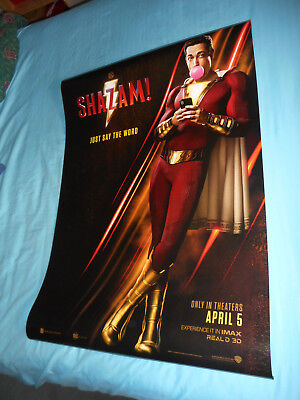 """Zachary Levi SHAZAM! official movie poster one sheet DS 27""""x40"""" DC New 2019"""