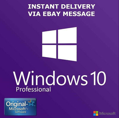 INSTANT Microsoft Windows 10 Pro Professional 32 64 bit LICENSE KEY CODE ESD