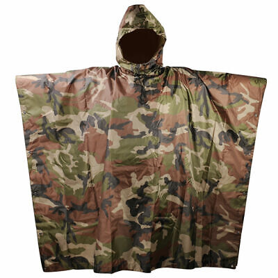 Military Woodland Camo Ripstop Wet Weather Rain Poncho Camping Hiking US