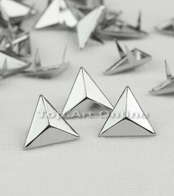 100Pc Rivets Spike Studs Punk Bag Belt Leathercraft DIY Silver Triangle 15mm Hot