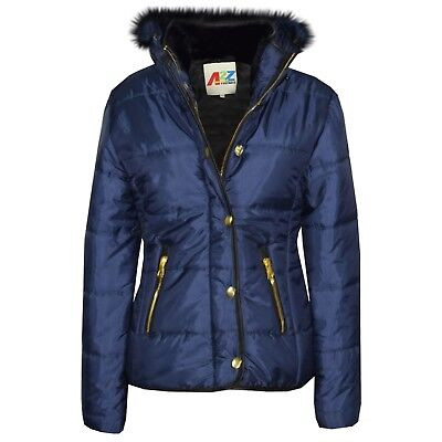 Kids Girls Navy Padded Puffer Jacket Bubble Faux Fur Collar Quilted Coats 3-13 Y