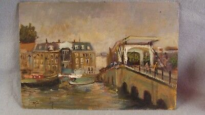 Antique Russian Impressionist Marina Cityscape Oil Painting