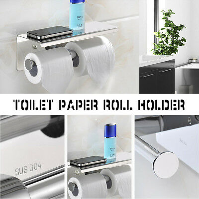 Toilet Dual Roll Paper Holder Tissue Storage Shelf Wall Mounted Stainless Steel