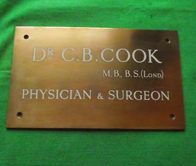 C1900 Brass Vintage Sign Plaque Glasgow Dr Catherine Glanvill Surgeon Physician Architectural & Garden Signs & Plaques