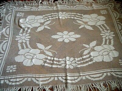 19c Old Vtg Victorian time Filet Crochet Tablecloth hand made nouveau Europe