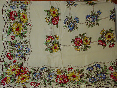 "Vtg Rayon Cotton Floral Tablecloth Vibrant Colors 56"" X 49"""