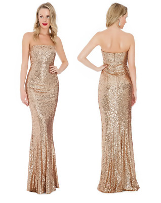 f72b188a5a Goddiva Long Sequin Strapless Bandeau Sweetheart Evening Maxi Dress Prom  Party