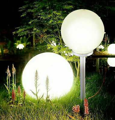 Jumbo Giant LED Solar Garden Mood Ball Sphere Globe Stake Light White