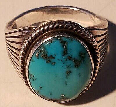 H Begay Navaho Sterling Silver Turquoise Ring, size 10 1/2