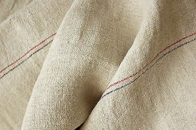 Vintage Linen Fabric WASHED homespun ORGANIC striped upholstery 10.3 yards