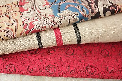 Antique French fabric vintage material PROJECT BUNDLE red black