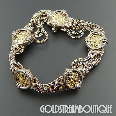 Sterling Silver Mixed Metal Ancient Coin Design Multi Chain Byzantine Bracelet