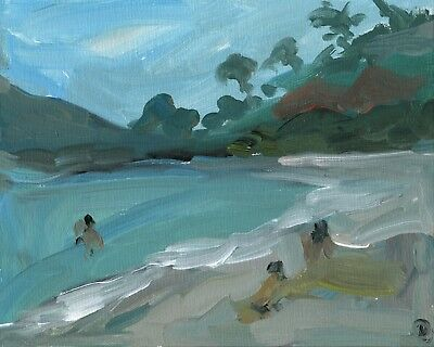 95. Beach Ocean Summer Original Oil Painting Impressionist People Landscape Art