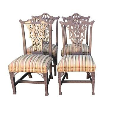 Hollywood Regency Style Chinese Chippendale Lilac Dining Chairs - Set of 4