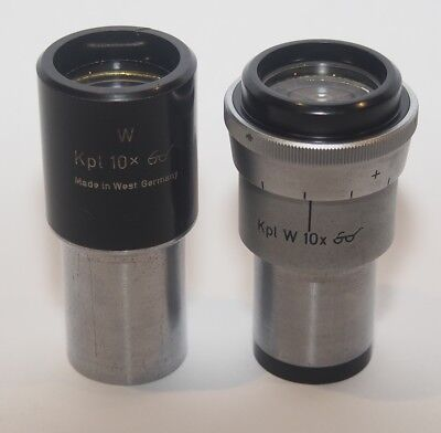 Carl Zeiss Kpl-W 10x Microscope Eyepiece Set, one adjustable with reticle holder