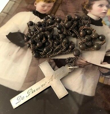 ANTIQUE Vintage French NUNS Rosary NUNS Engraved Cross Dated