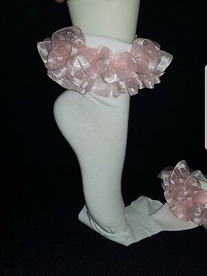 Hand Made Romany kids ankle frilly socks sizes 9-12