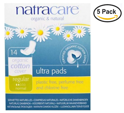 NEW 5PACK Natracare, Ultra Pads, Organic Cotton Cover, regular , 14 Pads each