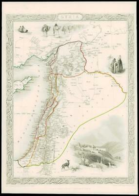 """1850 - Original Illustrated Antique Map of """"SYRIA"""" by TALLIS  (196d)"""