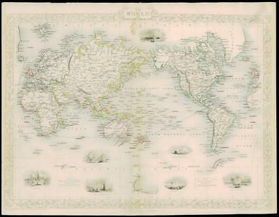 """1850 RARE Antique Map """"THE WORLD ON MERCATOR'S PROJECTION by Tallis (234d)"""