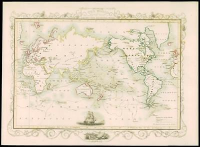 """1850 Illustrated Antique Map """"THE WORLD CAPTAIN COOK MERCATOR by Tallis (228d)"""