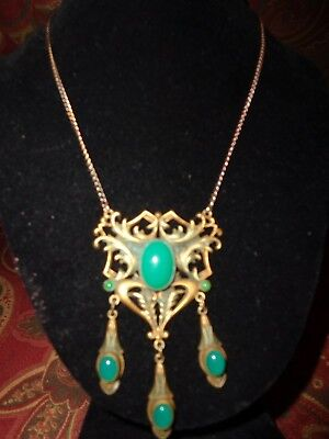 Vintage Victorian Art Nouveau Jade Glass Cab Drippy Necklace Old Estate