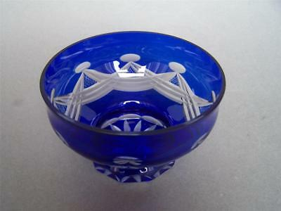 Vintage Bohemian Czech Cut to Clear Cobalt Blue Glass Footed Bowl Swags Design
