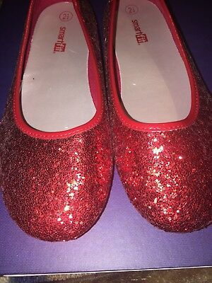 e9bced27f Girls Size 2.5 Red Glitter Shoes Dorothy Wizard of Oz Ruby Slipper Ballet  Flat